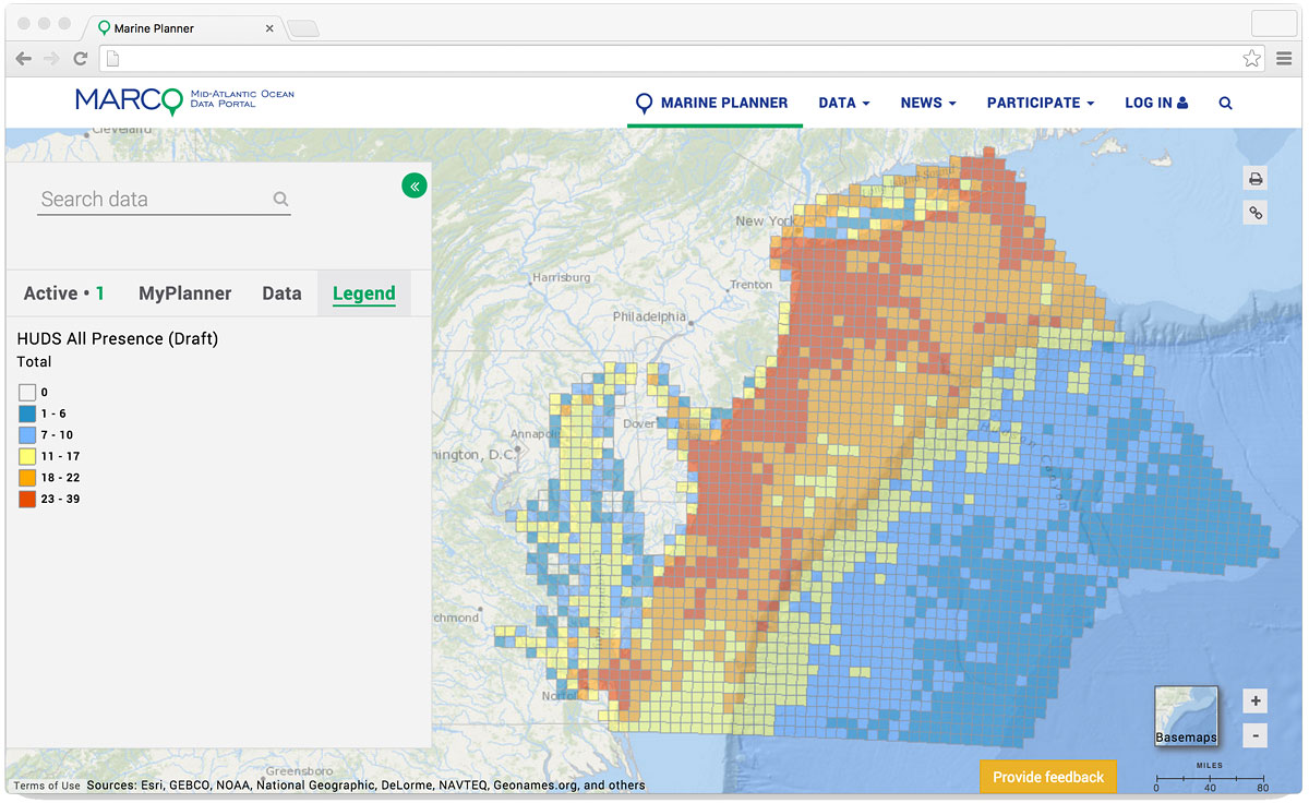 Draft HUDS map showing the total number of human use data layers in each 10 km grid cell.