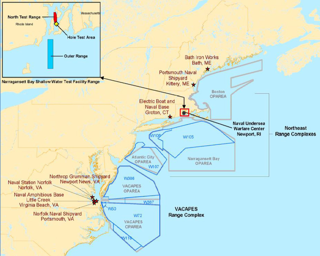 Testing and Training Areas in the Mid-Atlantic Region. (Source: U.S. Navy)