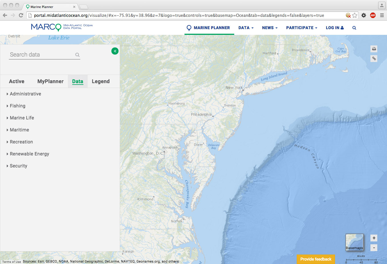 Mid-Atlantic Ocean Data Portal