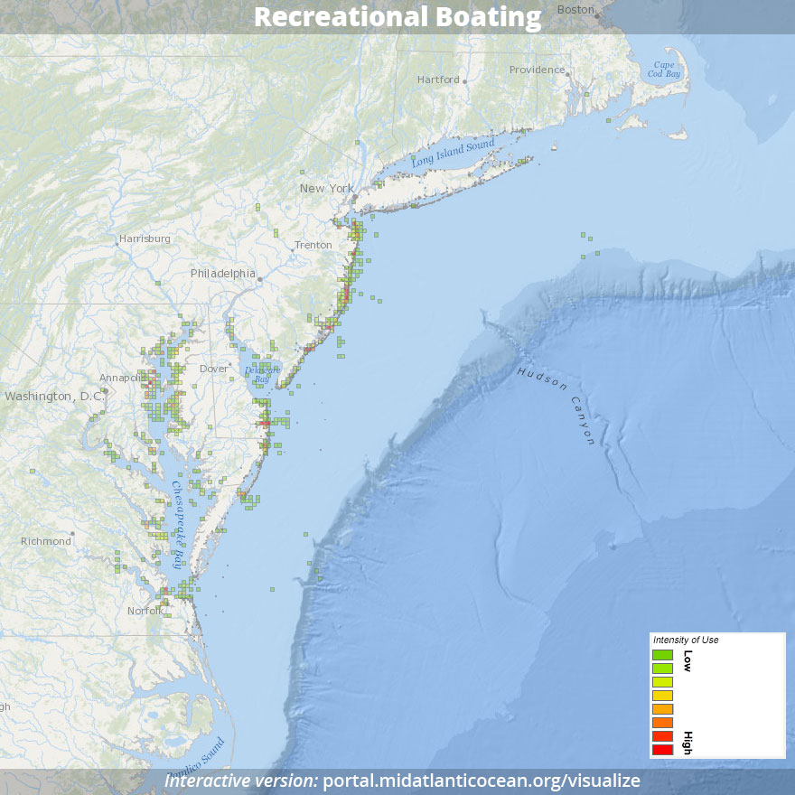 Recreational boating activity (U.S. Mid Atlantic Coastal and Ocean Recreation Study)
