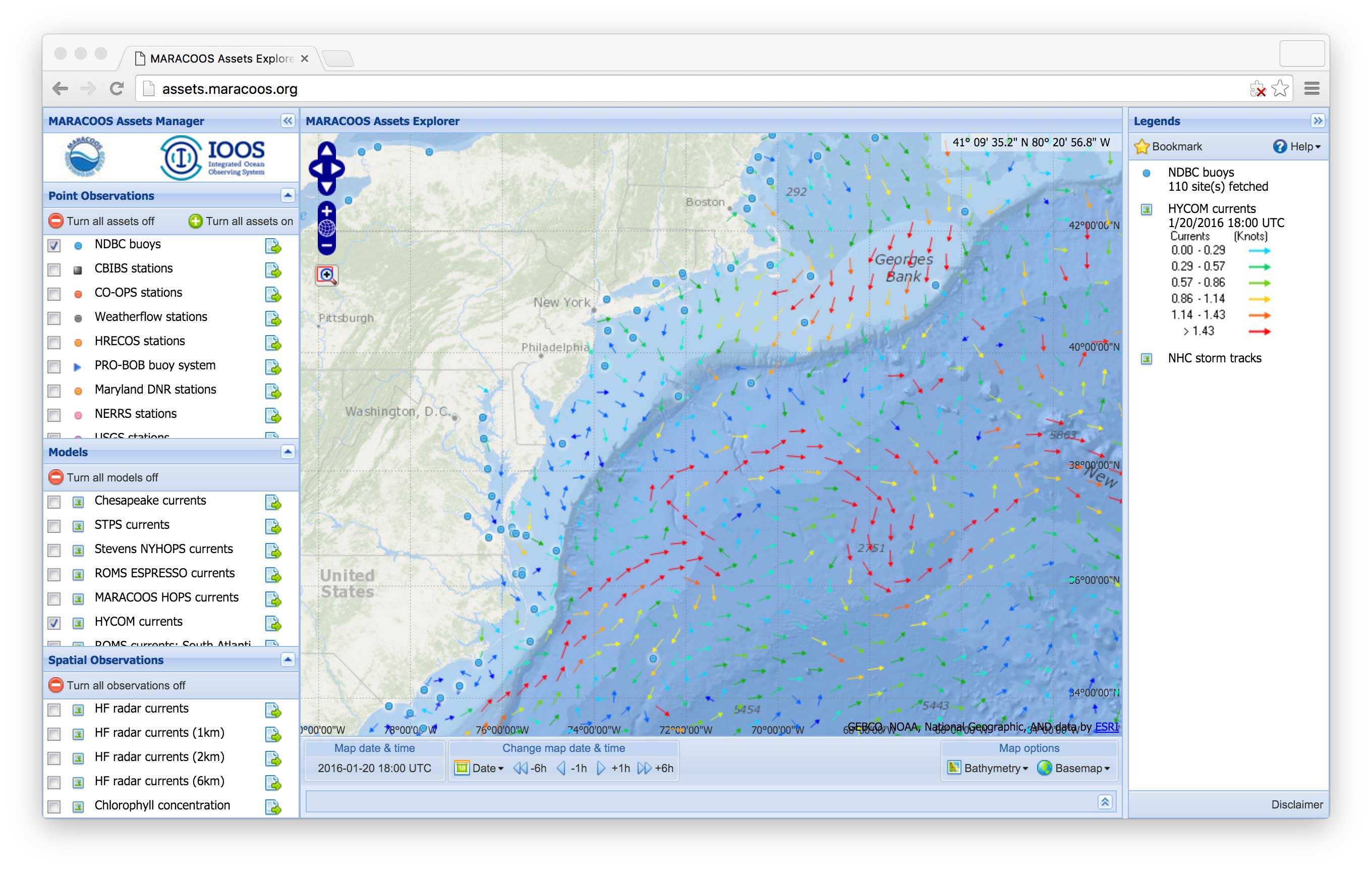 Screenshot of real-time oceanographic and environmental data available from the MARACOOS website.