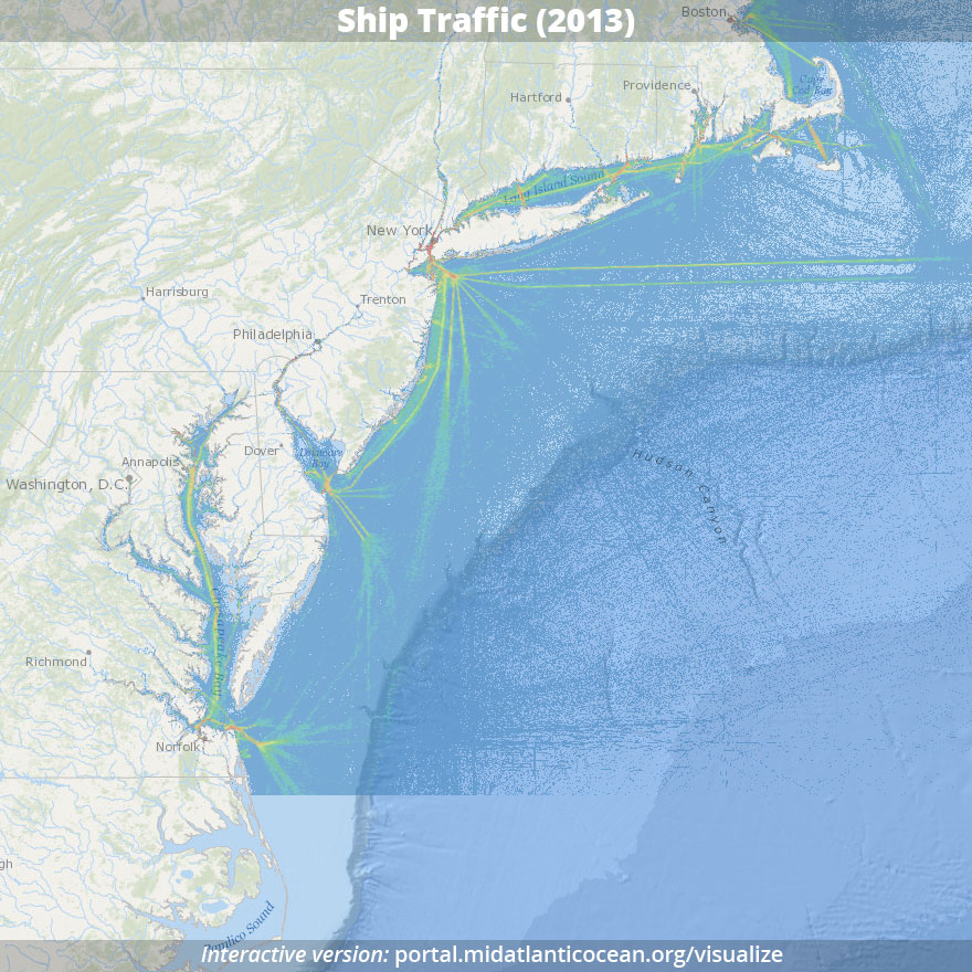 Vessel traffic patterns for 2013 based on Automatic Identification System (AIS) data.