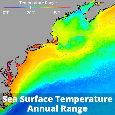 Annual sea surface temperature range