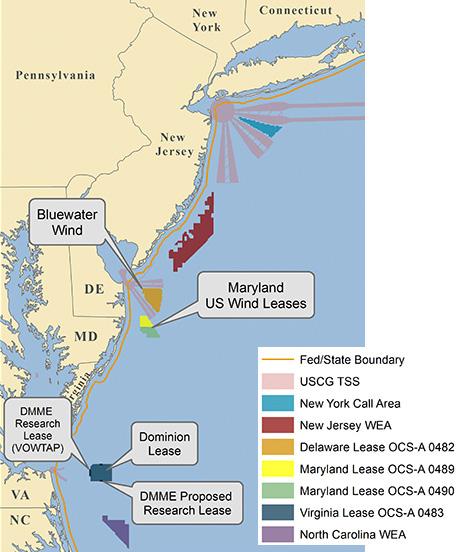 Map of Atlantic outer continental shelf (OCS) renewable energy areas (BOEM)